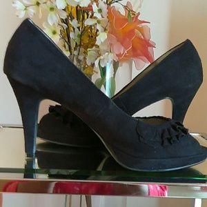 Cute Black Ruffled Faux Suede Peep Toe Heels